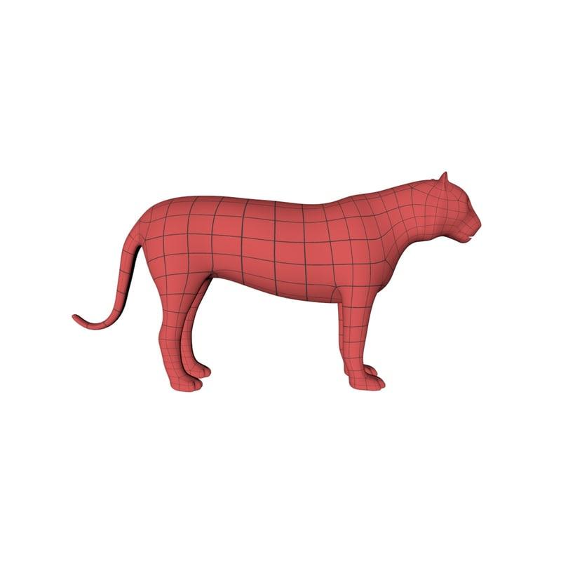3d model base mesh tiger