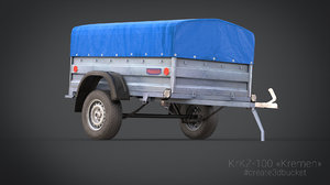 3d uniaxial trailer krkz-100 kremen model