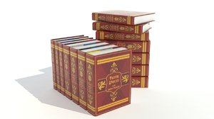 3d harry potter book set model