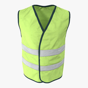 yellow visibility safety jacket 3d model