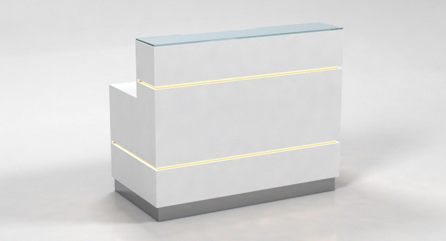 reception counter light desk 3d model