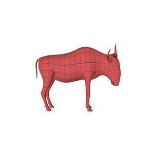 3d base mesh wildebeest gnu model
