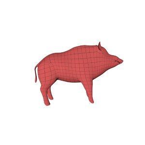 base mesh wild boar 3d obj