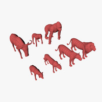 3d model african animals base mesh