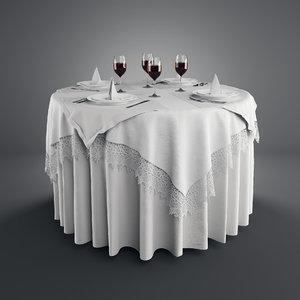 3d realistic table setting model