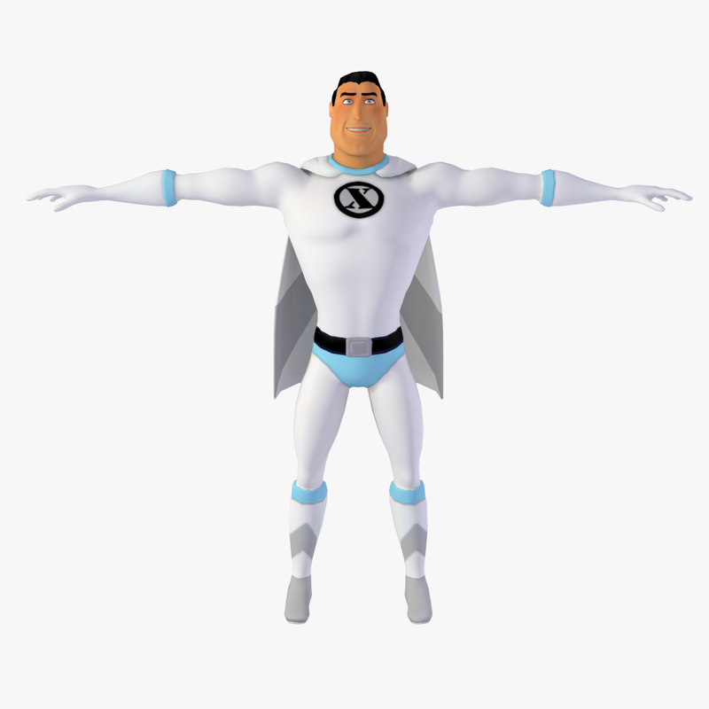 cartoon classic superhero real-time 3d model