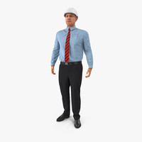 3d model construction engineer hardhat standing