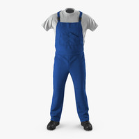3d construction worker blue uniform