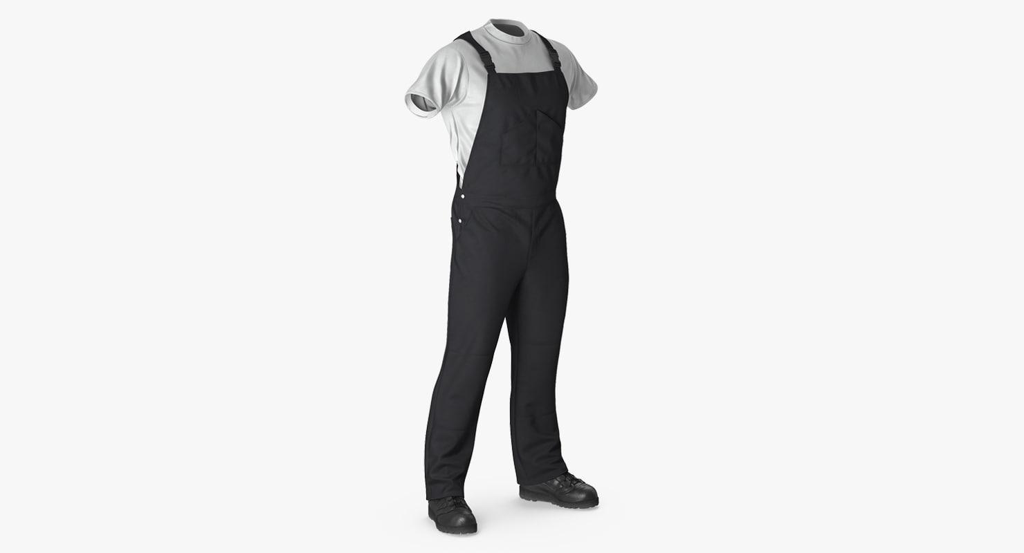 3d mens work wear black