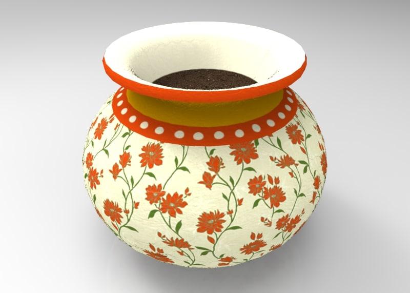fbx vintage decorative pot