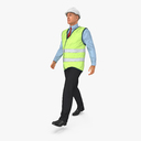 Construction Architect in Yellow Jacket Walking Pose 3D Model
