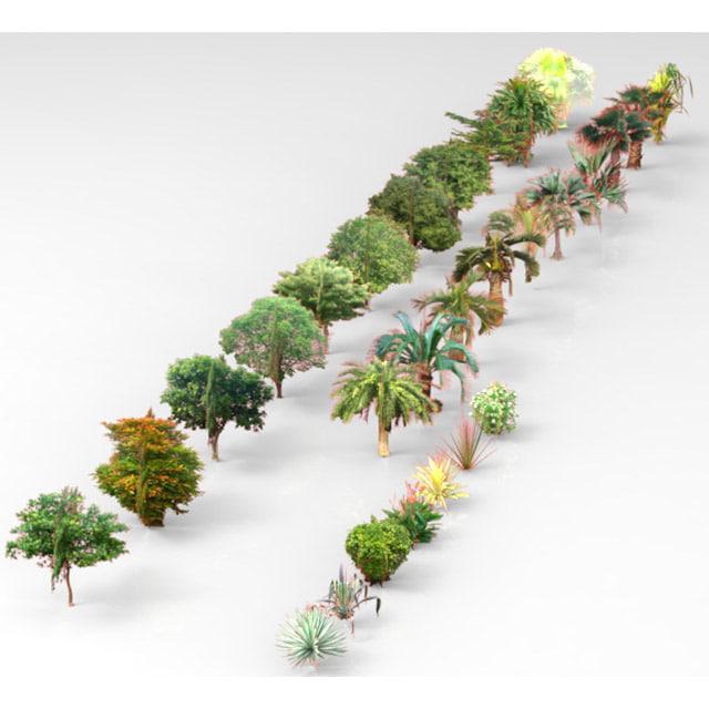 trees shrubs plants 3d fbx