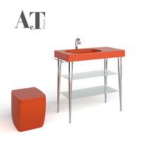 washbasin shelves bathroom toilet 3d model