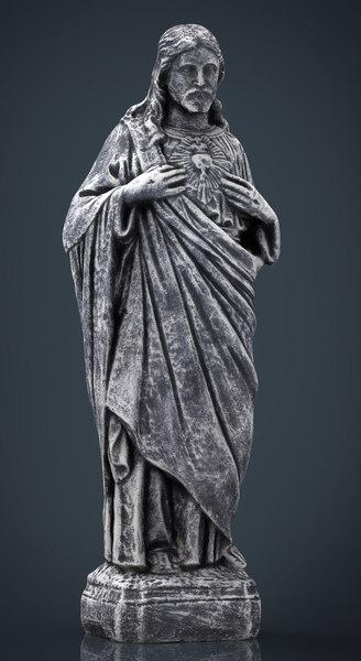 3d model of stone sacred heart jesus