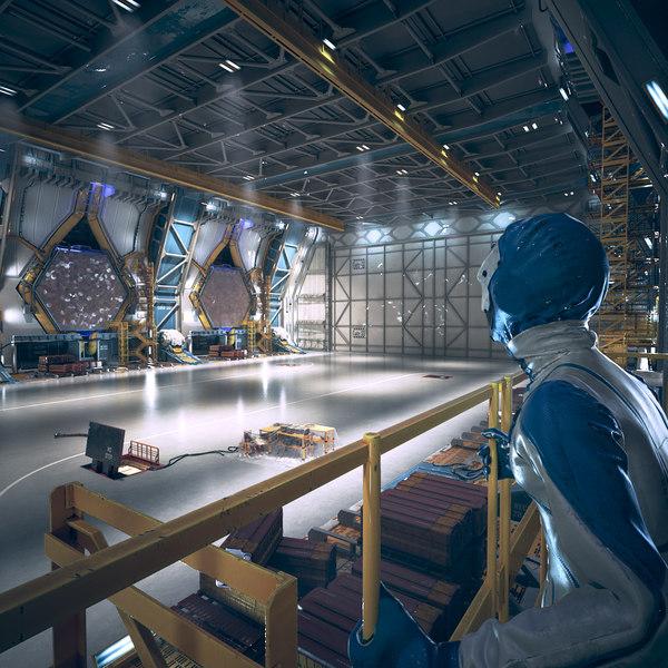 3d sci fi hangar interior model