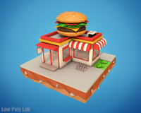 Cartoon Burger Cafe Low Poly