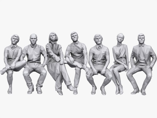 people sitting pack 3d model