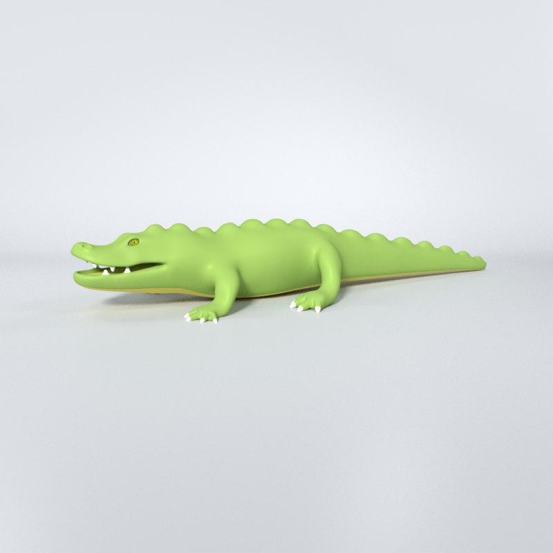 3d cartoon crocodile