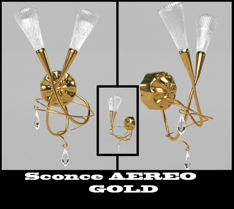 max sconce aereo gold 711633