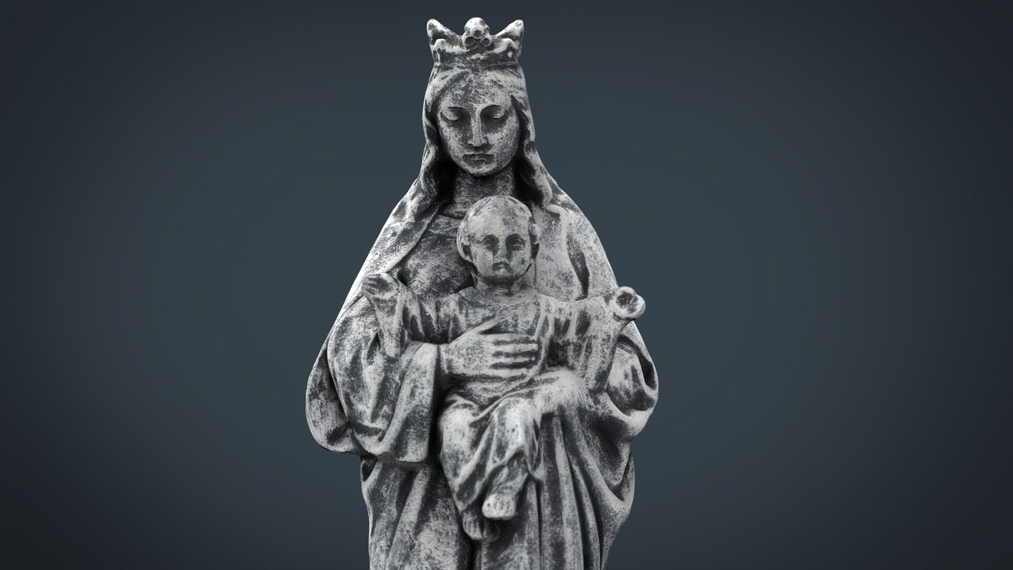 stone virgin mary baby 3d model