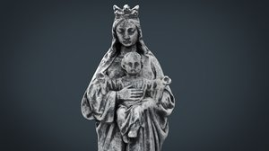 stone virgin mary baby 3d model