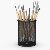Claytools in a mesh pencil holder