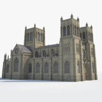 3d english medieval gothic cathedral