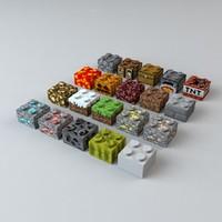3d model minecraft legos block