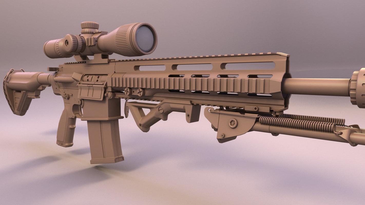 hk417 sniper rifle 3d model