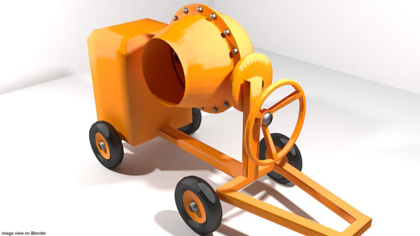concrete machine mixer 3d model