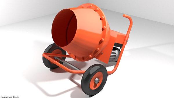 3d concrete machine mixer