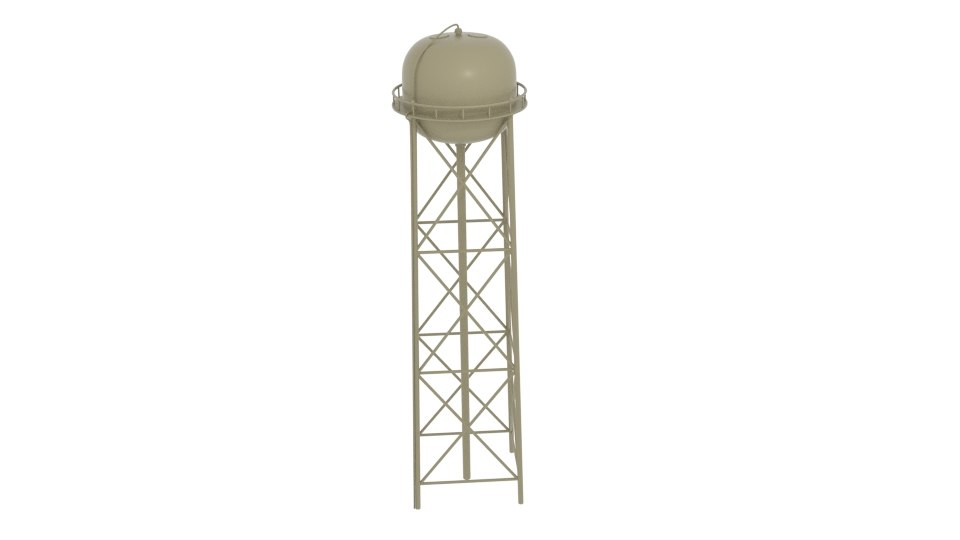 3d water tower tan