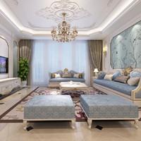 european style living 3d max