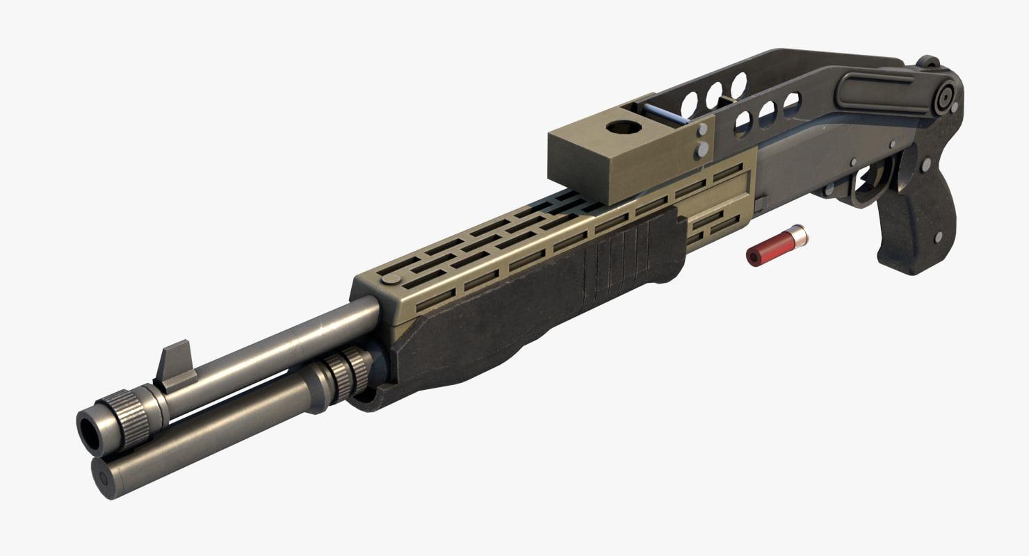 spas-12 shotgun 3d obj