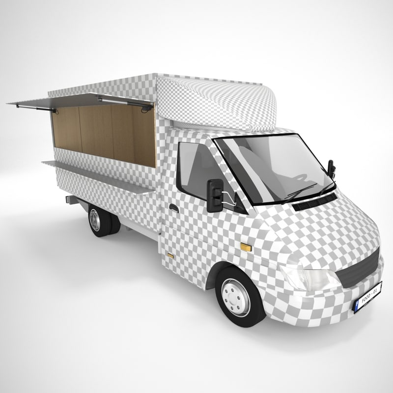 3d mercedes sprinter foodtruck model
