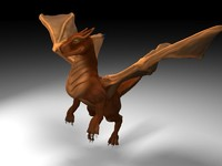 3d model brown dragon