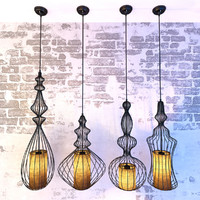 vintage wrought lamps lights 3d model