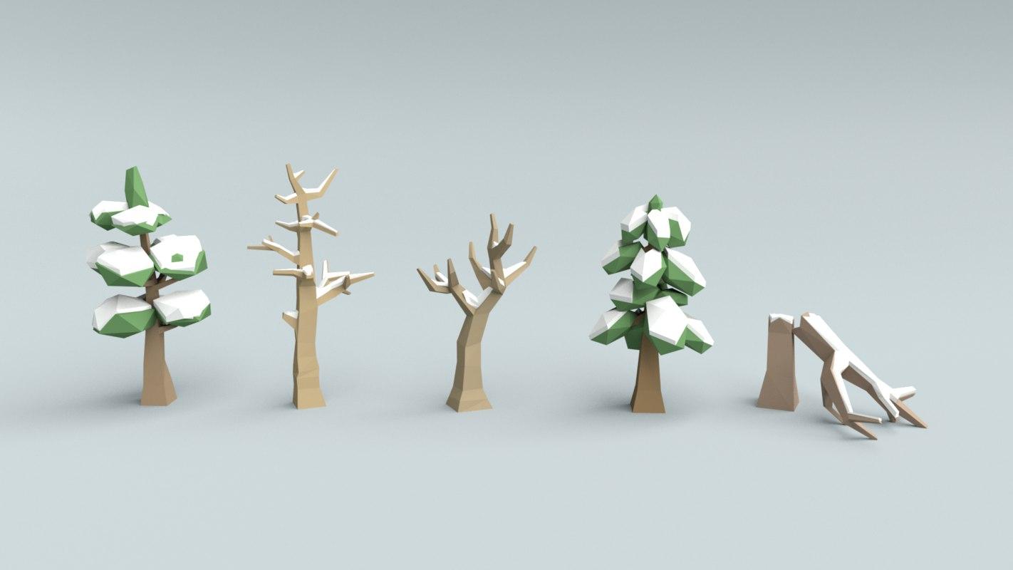 3d obj winter trees