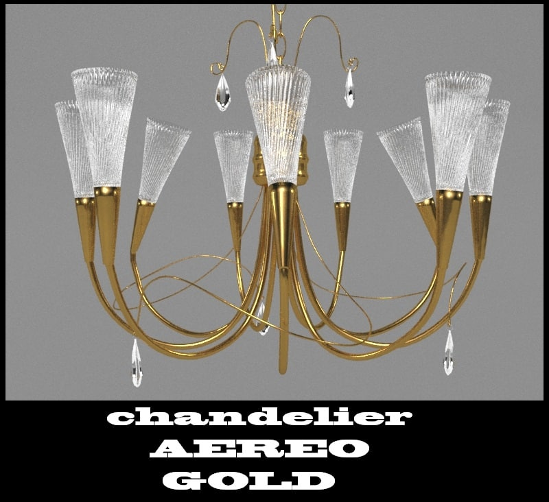 chandelier aereo gold 711093 3d max