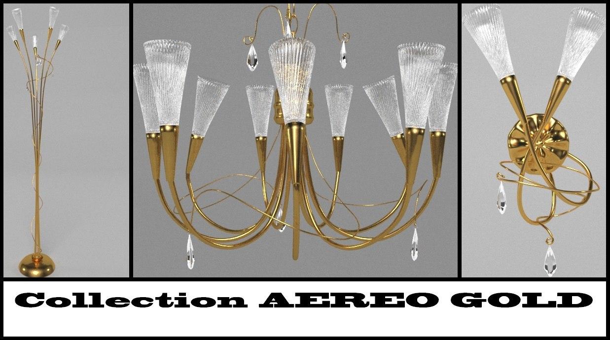 3d aereo gold floor lamp
