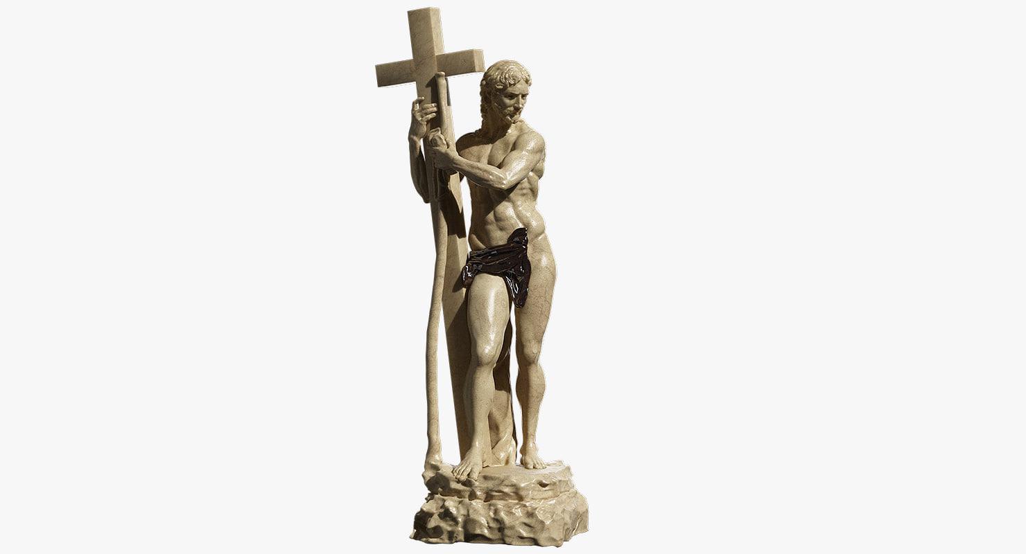 christ carrying cross 3d model
