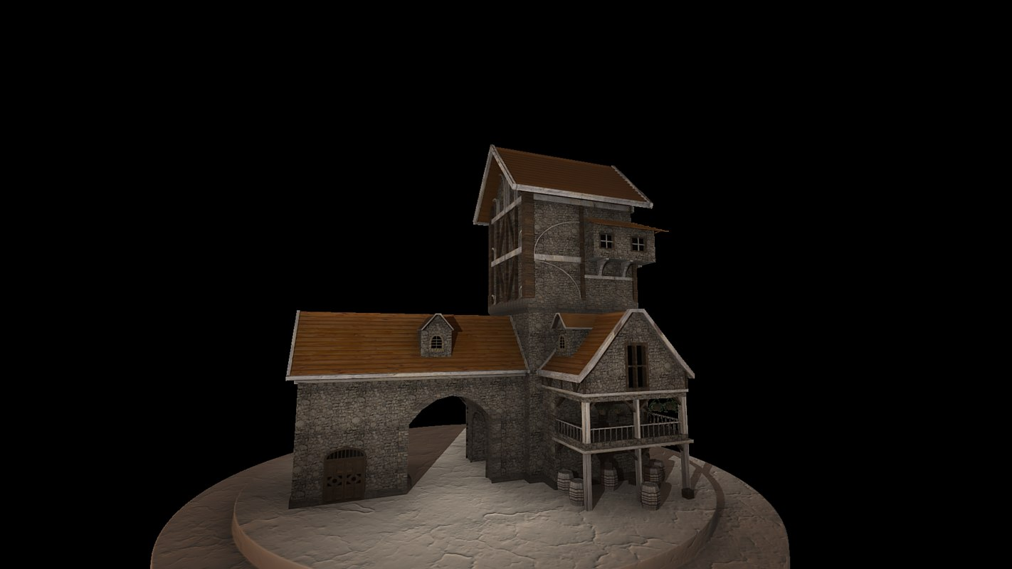 3d model of medieval fantasy house
