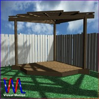 3d corner pergola freestanding model