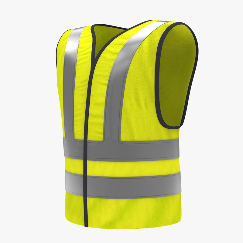 3d yellow traffic safety jacket