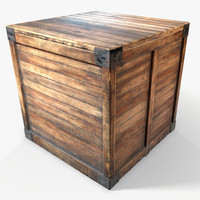 3d ready wooden crate pbr