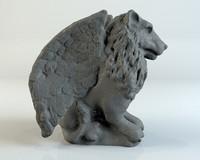 3d stone gargoyle lion