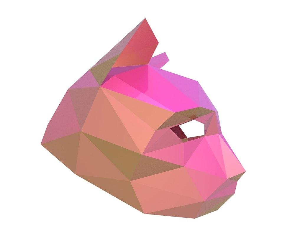 3d cat party mask model