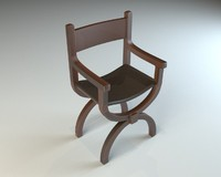wooden chair leather seat 3d max