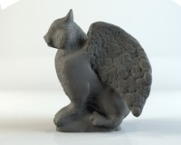 3d stone gargoyle cat model