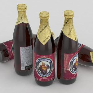 3d model beer bottle dunkel